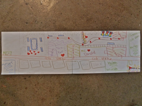 One of the participant's map, which illustrates some important themes for the girls