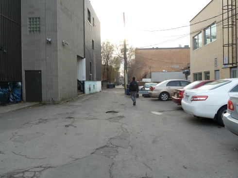 One of the pictures taken during the safety audit, behind some stores on Decarie boulevard