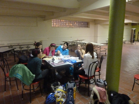 The girls in the Student Bistro, during one if their planning meetings.
